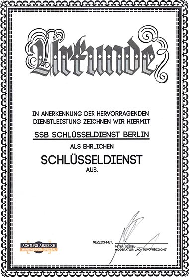 Urkunde Schlüsseldienst Testsieger 2019